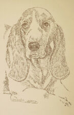 BASSET HOUND DOG ART #236 Kline DRAWN FROM WORDS Your dogs name added free. GIFT