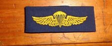 US NAVY COVER ALL,,CLOTH SEW ON BADGE ,NAVY PARACHUTIST , ON SOLID BLUE