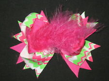 "NEW ""CHEVRON Pink & Green"" Fur Hair Bows Alligator Clips Girls Grosgrain Ribbon"