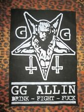 GG Allin Back Patch - Punk - Crust - Pentagram - Goat - Inverted Crucifix.