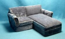 Dollhouse Miniature Living Room Sectional Chair & Chaise in Grey ~ T6763-1