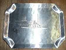 Vintage Wendell August Forge Fishing Boat Hand Hammered Aluminum Tray