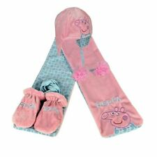 Set de 3 Pièces Bonnet Echarpe Moufles Roses Peppa Pig 18 Mois Neuf