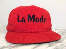 Vintage La Mode Active Headwear Logo Golf Red Corduroy Rope SnapBack Hat Cap!