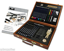 45 PIECE ARTIST PREMIER DELUXE SKETCHING & DRAWING PENCIL WOODEN CASE SET DS2030