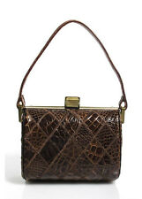 VINTAGE A PEACOCK BAG Brown Crocodile Gold Tone Metal Accent Shoulder Handbag