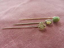 Lot of 3 14KT Gold Antique Stick Pins with Genuine Gemstones