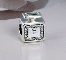 YOUR SIGNATURE PERFUME BOTTLE w CRYSTAL .925 Sterling Silver European Charm Bead