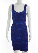 INTIMATELY FREE PEOPLE Royal Blue Abstract Mesh Sleeveless Pencil Dress Sz XS