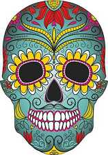 Blue Sugar Skull Vinyl Exterior Car Sticker Decals Mexican Day of the Dead