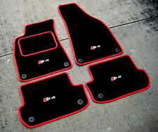 Black/Red Car Mats to fit Audi S4 B8 LHD (2009-2016) + S4 Logos (x4) + Fixings
