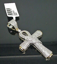 10K Yellow Gold Unique Diamond Ankh Charm With 0.65CTW /Jesus, Cross, Angel
