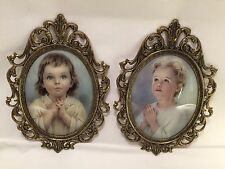 2 Convex Bubble Glass Brass-Tone Filigree Frame W/Girl Boy Praying Photograph