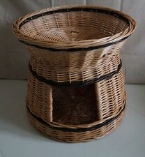 Wicker willow round 2 tier bunk baskets bed for pet cat kitten dog puppy rabbit