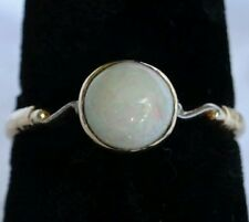 18 Carat Gold Cabouchon White Opal Ladies Ring size O