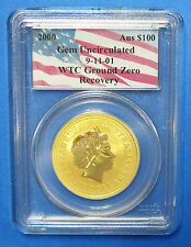 2000 WTC 911 Ground Zero WTC $100 Nugget 1 Oz Gold Coin Certified PCGS GEM UNC