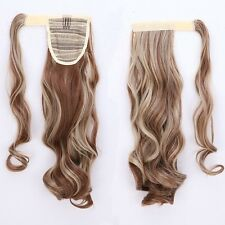 US Real Thick Clip In Hair Extension Pony Tail Tie Up Claw On Ponytail Natural