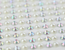 300pcs  5mm SeIf Adhesive IVORY PEARLS And AB CLEAR Diamante Stick on Gem Strips