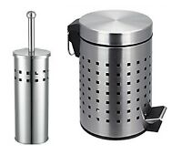TOILET BRUSH WITH HOLDER AND 3L 3 LITRE PEDAL STAINLESS STEEL WASTE BIN LOU SET