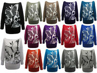 New Ladies Batwing BUTTERFLY Print Women Baggy Tops in Assorted Colors & Sizes