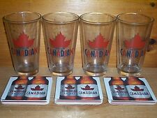 MOLSON CANADIAN 4 BEER PINT GLASSES & 30 PUB BAR COASTERS NEW