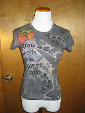 Disney Tinkerbell Wish You Were Me Gray Short Sleeve Top Juniors Size M