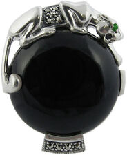 BLACK ONYX PANTHER RING HALLMARKED 925 SILVER NEW FROM ARI D NORMAN