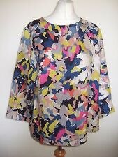 LADIES BODEN BLUE LIME PINK BLUE COLOURFUL SILK BLEND LONGSLEEVE TOP SIZE 14