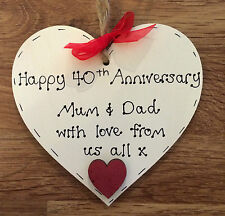 personalised 40th/ruby wedding anniversary wooden heart gift/present