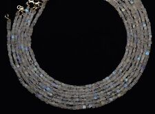 """NATURAL GEM BLUE FIRE MOONSTONE 4MM CUBE BEADS 70CTS. 16.5"""" FINISHED NECKLACE"""