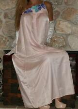 M LONG PINK SATIN VINTAGE LINGERIE NIGHTGOWN SLIP NEGLIGEE NATORI cotton lined