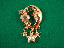 New Kirks Folly Crystal Moon & Stars Brooch Pin