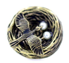 Vintage style antique gold coloured enamel bird in nest charm ring