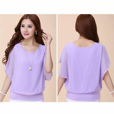 Summer Women's Chiffon Tee Top Batwing Short Sleeve Shirt Loose Casual Blouse