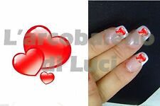 20 ADESIVI UNGHIE NAILS STICKERS CUORI ROSSI RED HEARTS NAIL ART DECORAZIONE