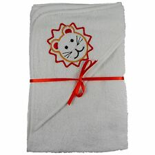 2 x 100% Cotton Hooded New Born Baby Cuddle Robe Towel Lion 60 x 60 Shower Gift