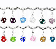 24 Mixed Birthstone Dangle Beads Fit Charm Bracelet