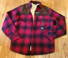 NWT Mens FIELD & STREAM Red Plaid Sherpa-Lined Flannel Shirt Jacket Size M $100