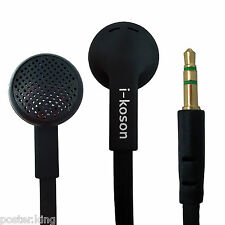 Black 3.5mm Earphone Headphone Earbud Headset Flat Tangle Free Cable Y-Cord