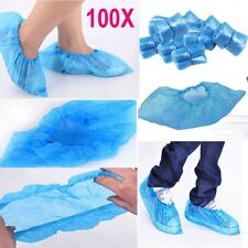 100 x Blue Disposable Plastic Thick Shoe Covers Overshoes Waterproof Carpet