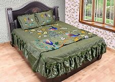 Design Silk 4 PCs Beautiful Peacock made Bedcover With Pillow Quilt Bedding Set