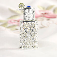 Vintage Emboss Silver Collectable Empty Metal Crystal Glass Perfume Bottle 2ml