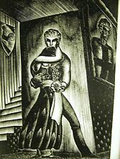 Lynd Ward 1930 MAN HOLDING CRYING WOMAN Art Deco Print Matted