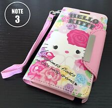 For Samsung Galaxy Note 3 -HELLO KITTY ROSE LEATHER WALLET POUCH FLIP CASE COVER