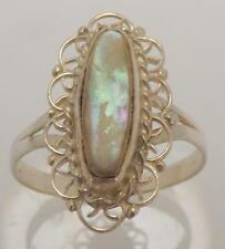 925 STERLING SILVER OVAL MOTHER OF PEARL SOLITAIRE RING SIZE 7.75 RT10
