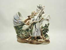 ANCIEN BISCUIT EMAILLE DORE FIGURINE CALECHE PERSONNAGE CHEVAL PORCELAINE FINE