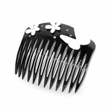 Moliabal Womens Hair Comb in Black W/ Rhinestone, Flower and Butterfly Accents