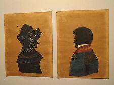 Soldat Offizier - Uniform Epauletten & Frau mit Haube / 2x kolorierte Silhouette