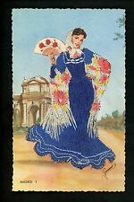 Embroidered clothing postcard Artist Elsi Gumier Spain Madrid woman #1 fan