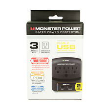 Monster Power 3 Outlet EXP 350 USB Wall tap Surge Protector with 2 USB Ports